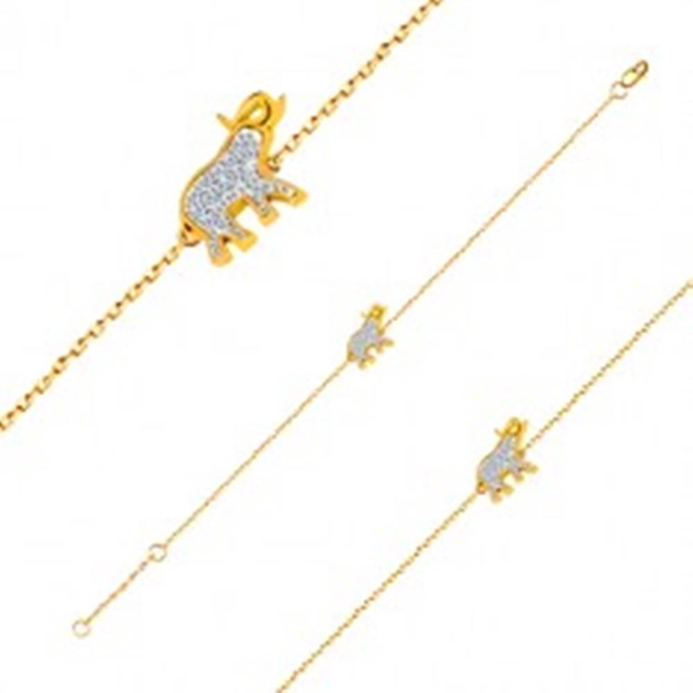 Šperky eshop Náramok zo 14K zlata - sloník s trblietavými zirkónmi, jemná lesklá retiazka