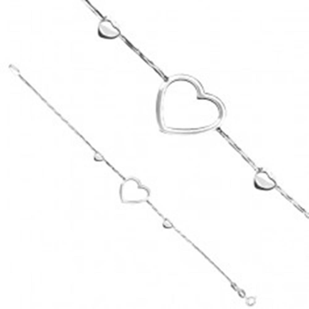 Šperky eshop Náramok zo striebra 925 - obrysové srdce na hadíkovej retiazke