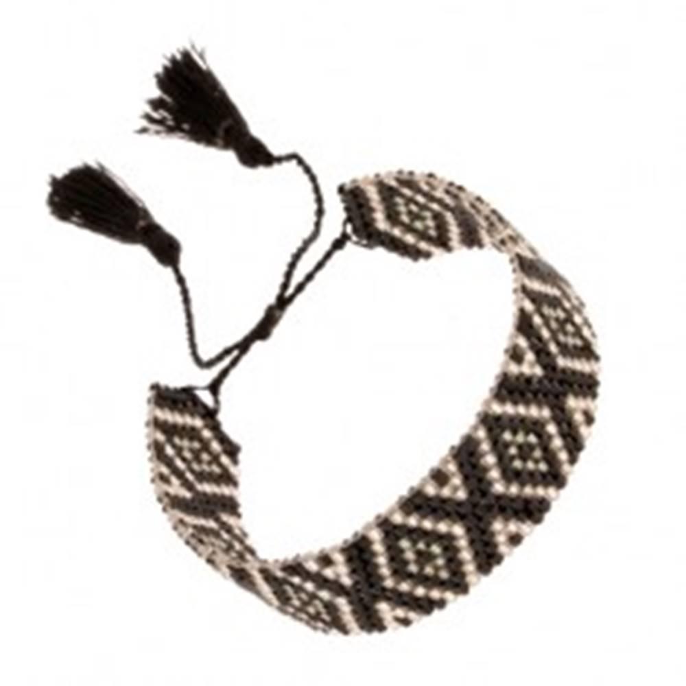 Šperky eshop Nastaviteľný náramok z korálok, kosoštvorcový vzor, čierna a strieborná farba