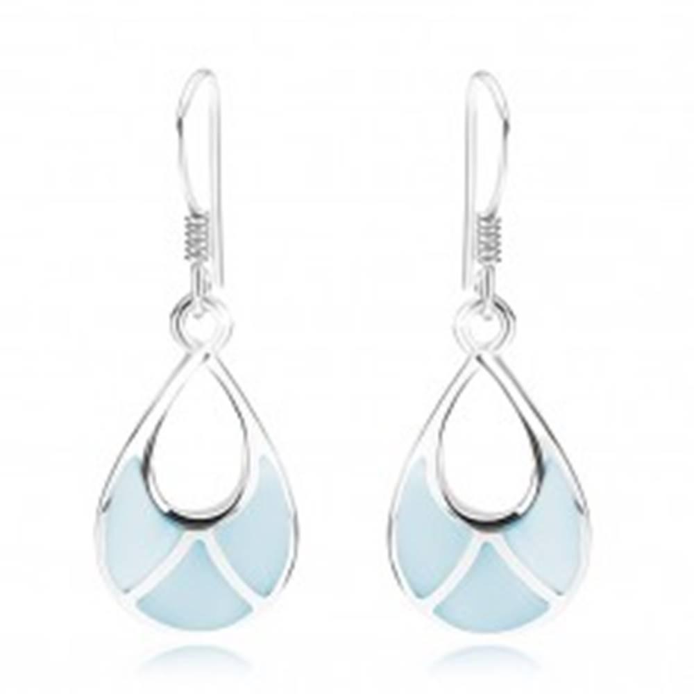 Šperky eshop Náušnice, striebro 925, kvapka s výrezom, modrá perleť, africké háčiky