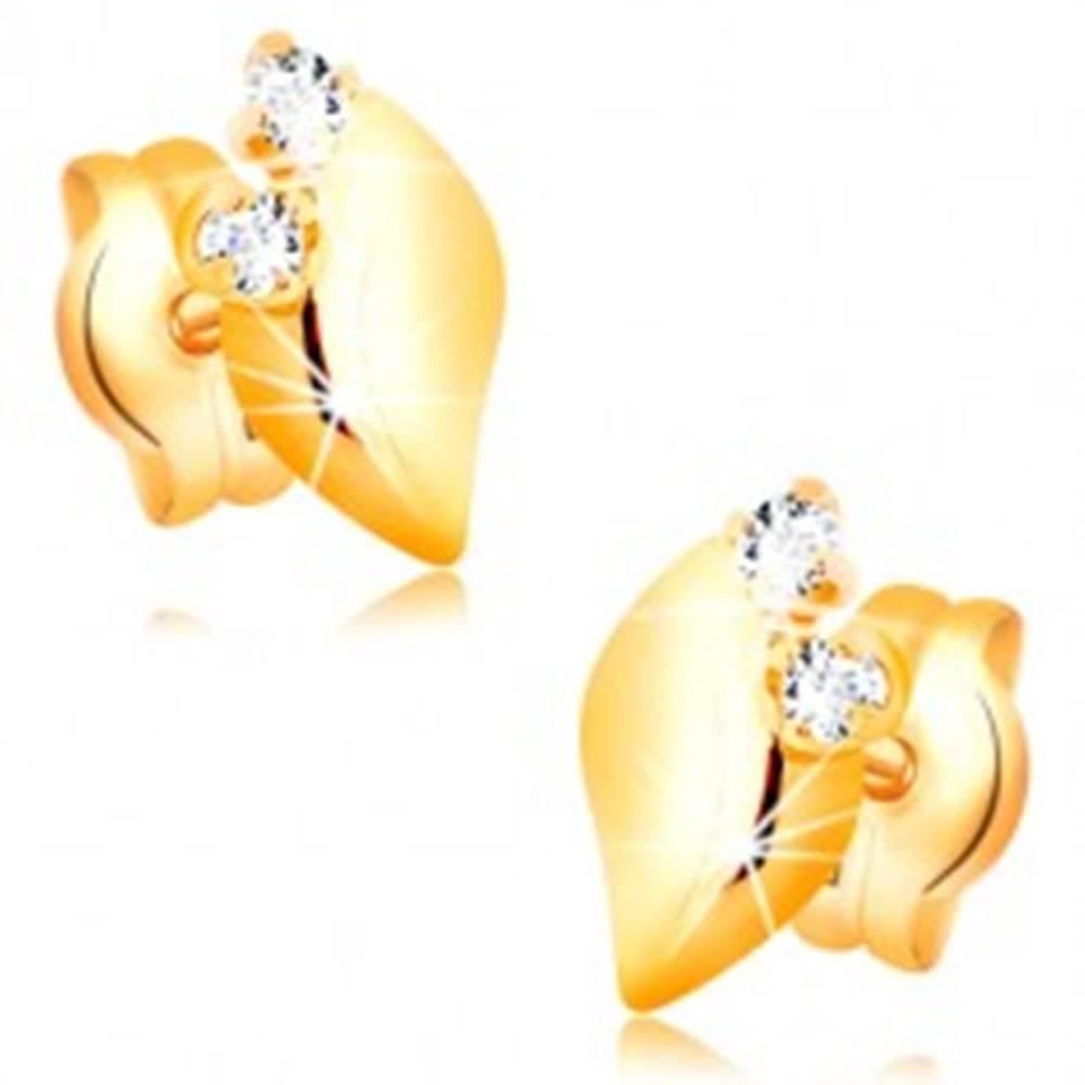 Šperky eshop Náušnice v 14K žltom zlate - lesklý lístoček s dvomi čírymi zirkónmi