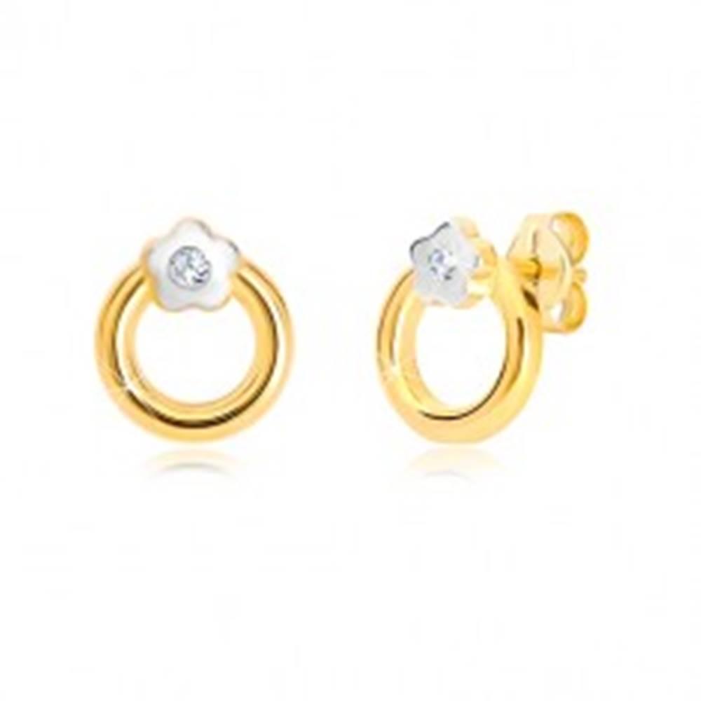 Šperky eshop Náušnice v kombinovanom 14K zlate - krúžok s kvietkom a zirkónom