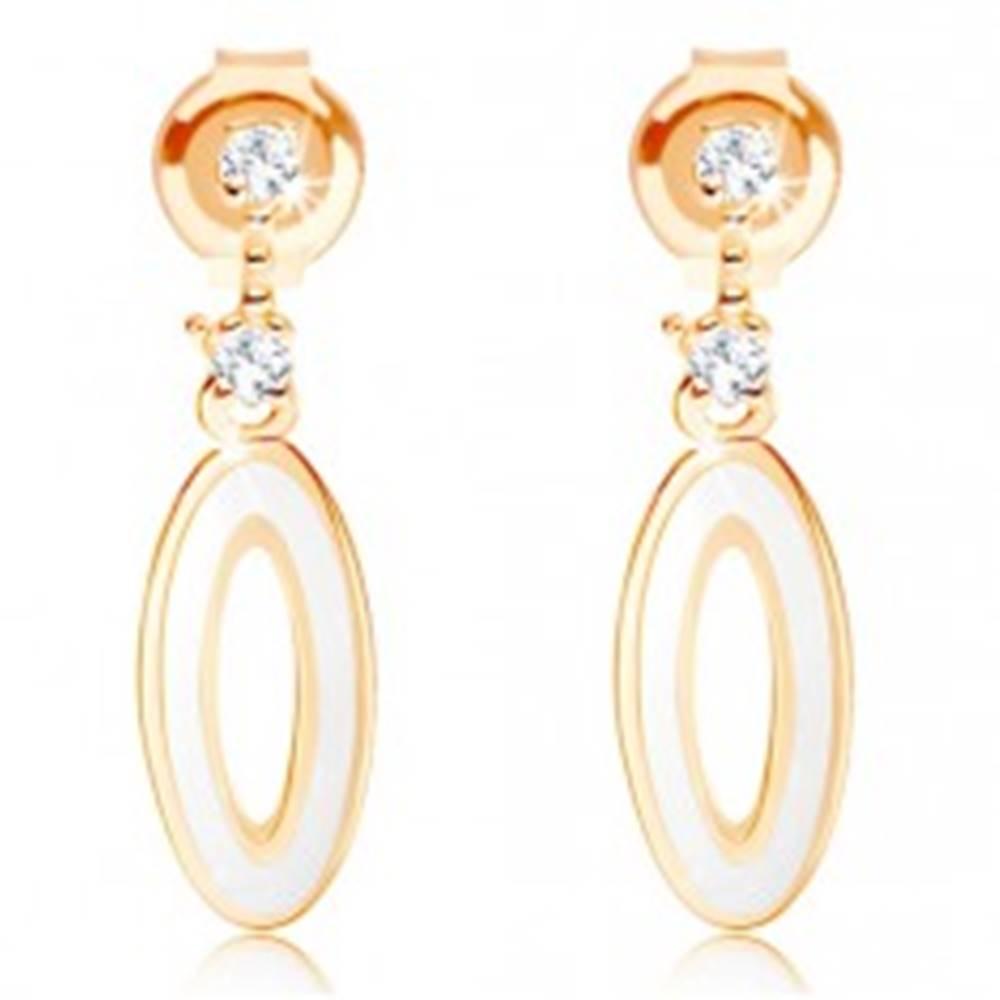 Šperky eshop Náušnice v žltom 14K zlate - obrys oválu na krátkej paličke, biela glazúra