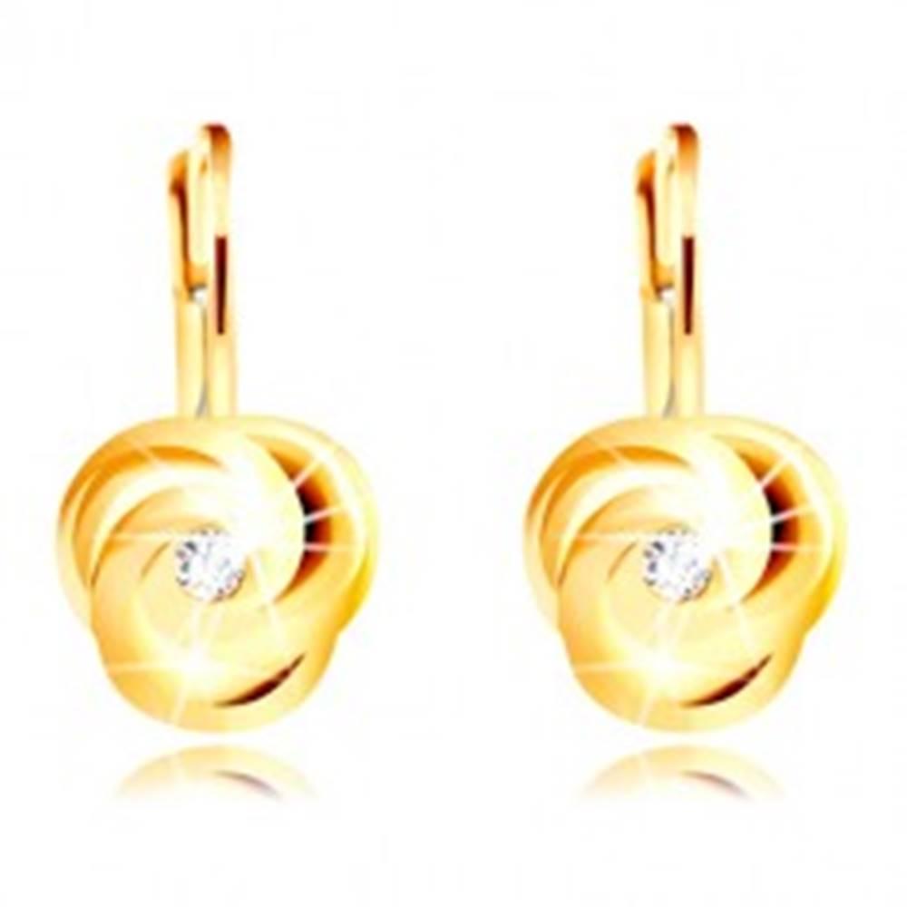 Šperky eshop Náušnice v žltom 14K zlate - tri špirálovito zatočené lupienky, okrúhly zirkónik