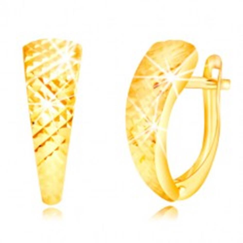 Šperky eshop Náušnice v žltom zlate 585 - lesklý nesúmerný oblúk, drobné ihlany