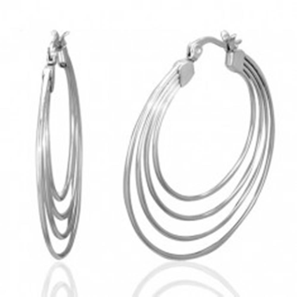 Šperky eshop Náušnice z chirurgickej ocele, strieborná farba, štyri kruhy