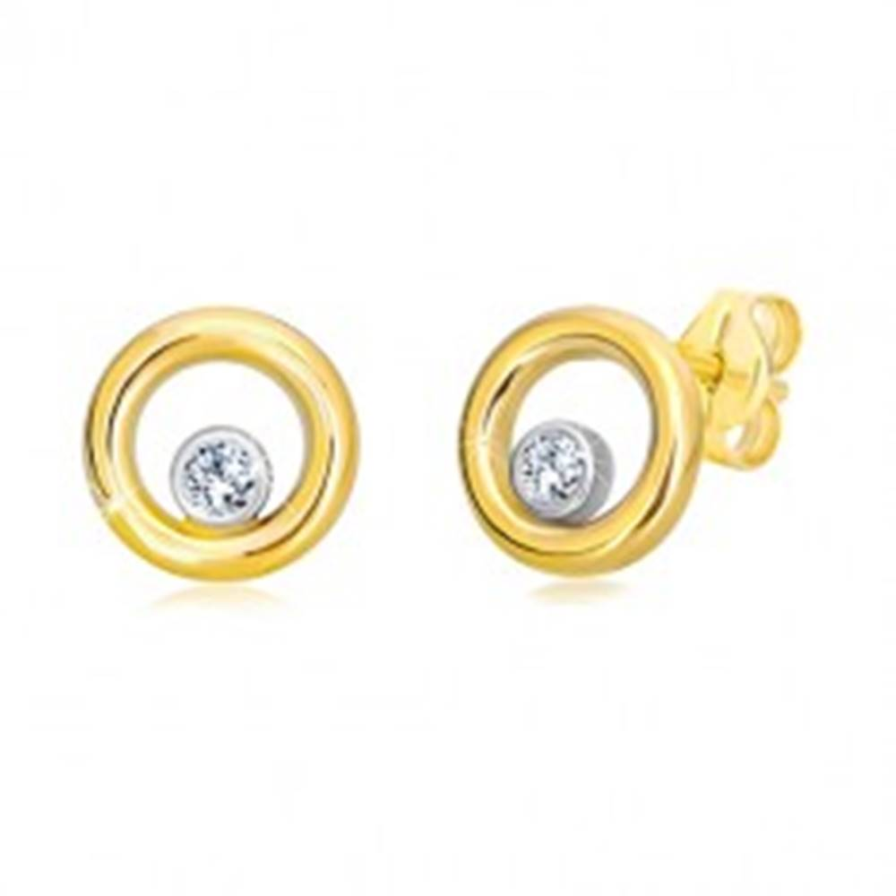 Šperky eshop Náušnice z kombinovaného 14K zlata - úzky kruh so zirkónom v objímke