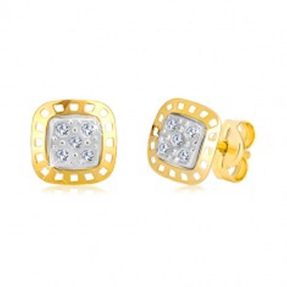 Šperky eshop Náušnice z kombinovaného zlata 585 - dvojfarebný štvorec so zirkónmi
