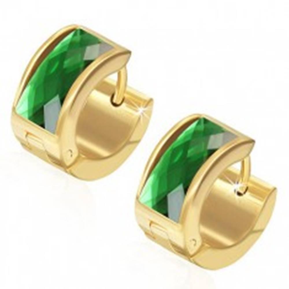 Šperky eshop Náušnice z ocele 316L, povrch zlatej farby, obdĺžnikový zelený zirkón
