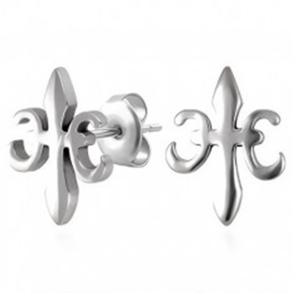 Šperky eshop Náušnice z ocele 316L, symbol kráľovskej ľalie - Fleur de Lis