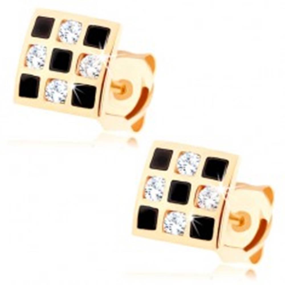 Šperky eshop Náušnice zo zlata 585 - štvorček so šachovnicovým vzorom, zirkóny, glazúra