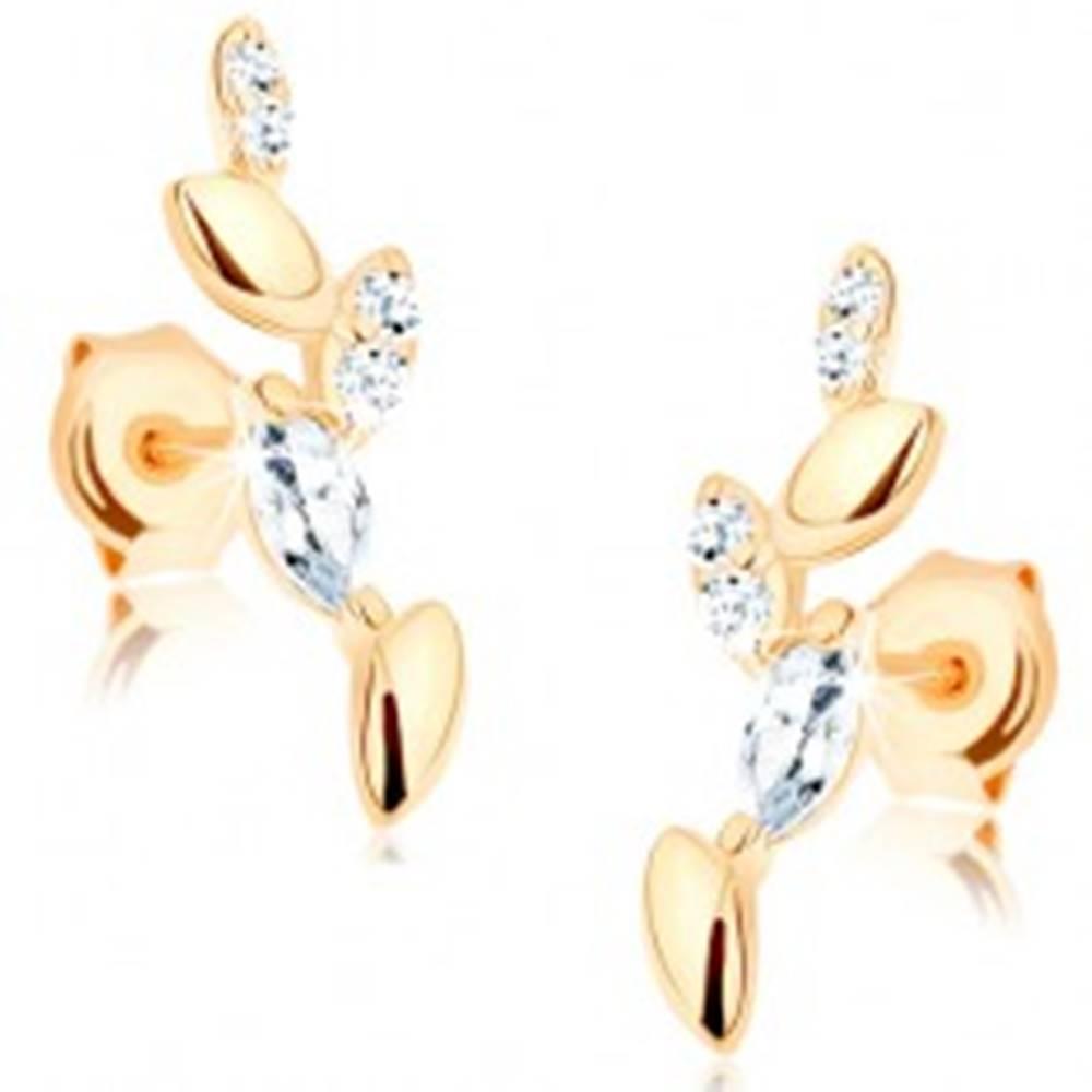 Šperky eshop Náušnice zo žltého 14K zlata - ligotavá vetvička, hladké a zirkónové listy
