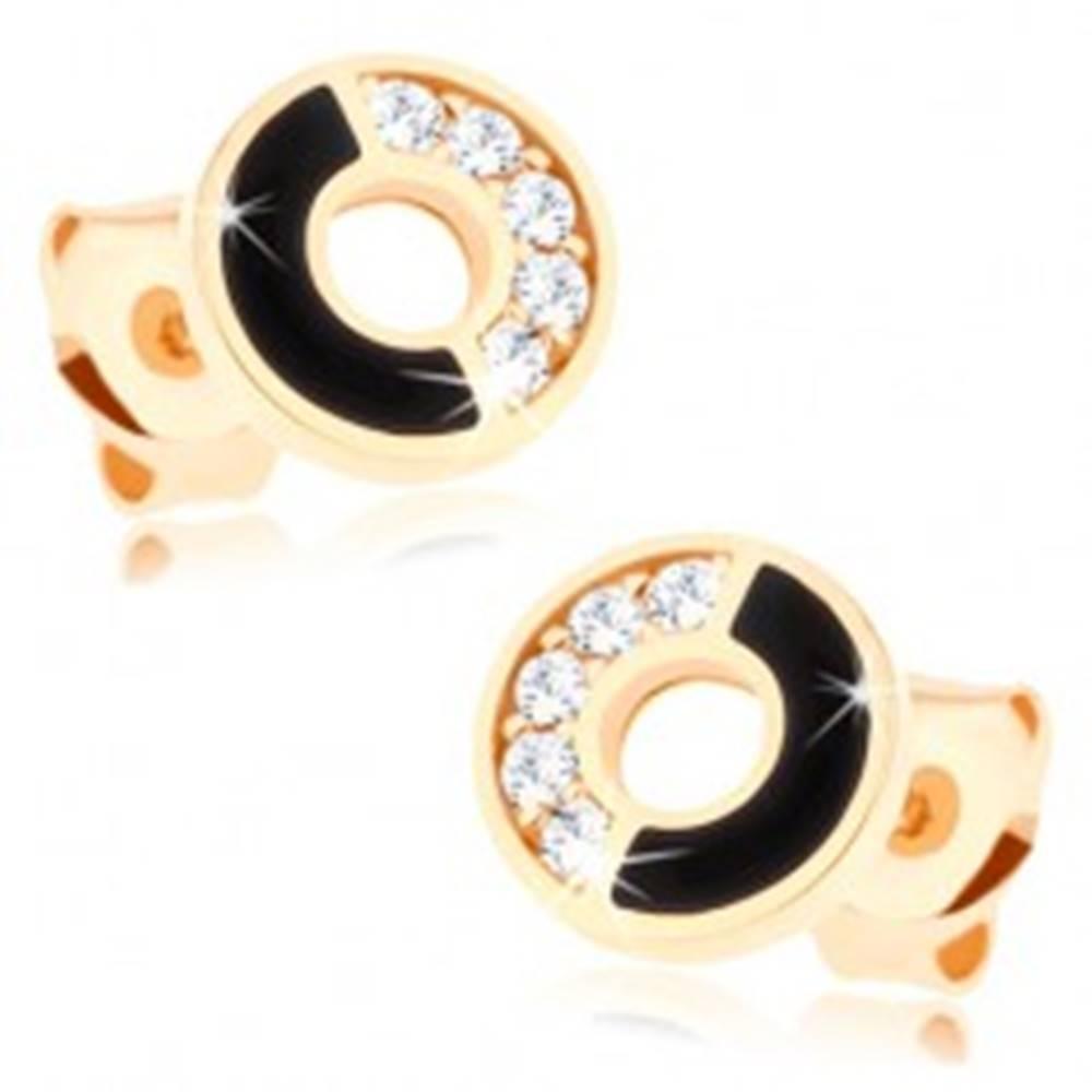 Šperky eshop Náušnice zo žltého 14K zlata - obruč s čiernou a zirkónovou polovicou