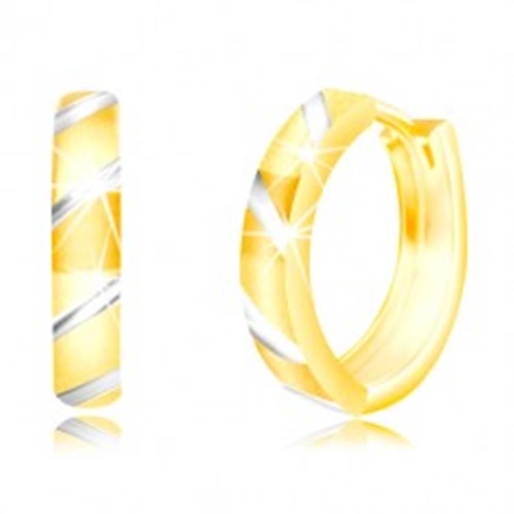 Šperky eshop Okrúhle náušnice z kombinovaného zlata 585 - šikmé pásy v bielom zlate