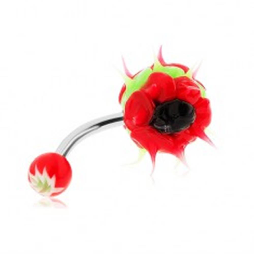 Šperky eshop Piercing z chirurgickej ocele, silikónový ježko, zelená, červená a čierna farba