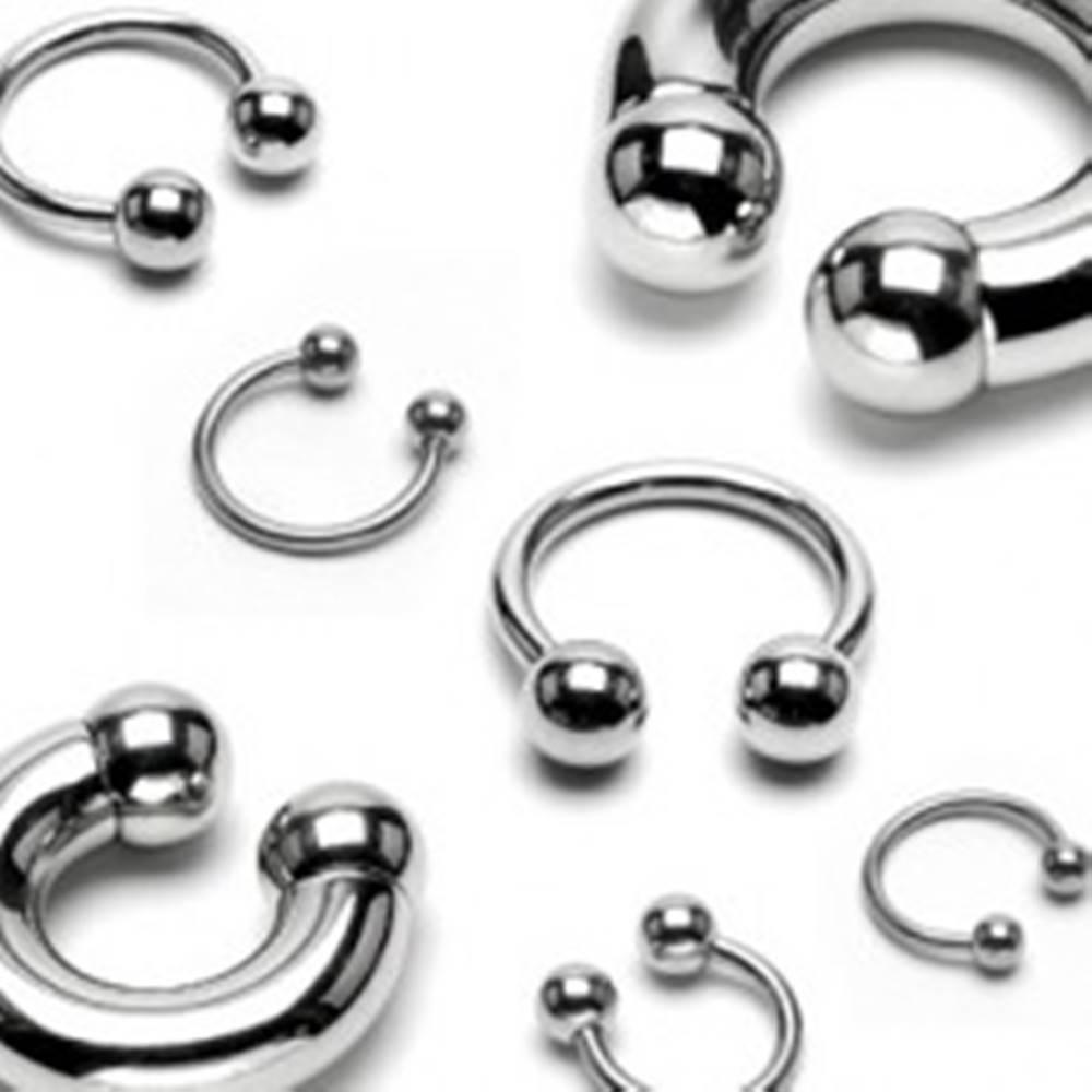 Šperky eshop Piercing z ocele 316L - jednoduchá podkova striebornej farby, guličky, hrúbka 2,5 mm - Hrúbka x priemer x veľkosť guličky: 2,5 mm x 10 mm x 4 mm