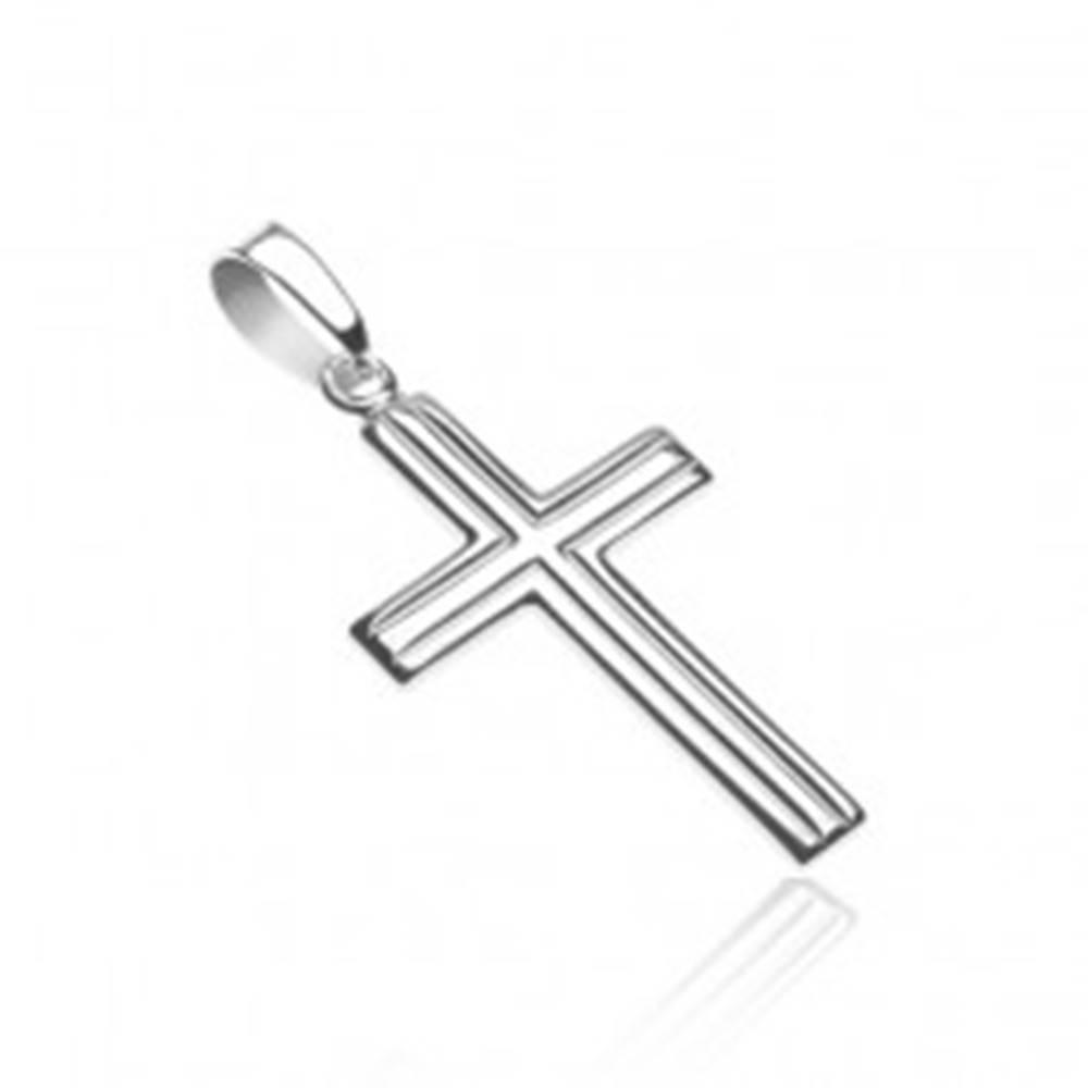 Šperky eshop Prívesok, krížik zo striebra 925 - dvojité rovnobežné pásy