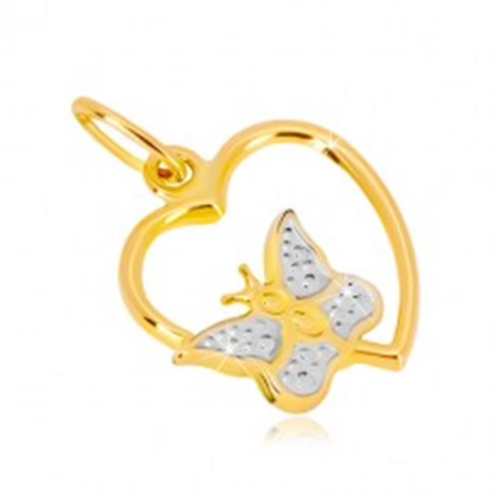 Šperky eshop Prívesok v kombinovanom 14K zlate - lesklý obrys srdca, motýlik