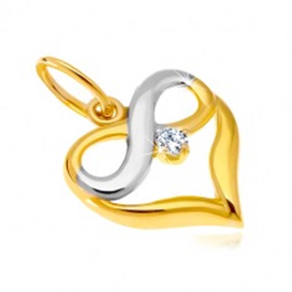 Šperky eshop Prívesok z kombinovaného 14K zlata - kontúra srdca, symbol nekonečna, zirkón