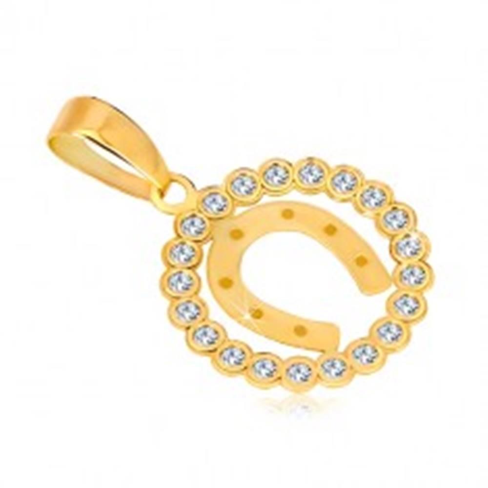Šperky eshop Prívesok zo žltého 14K zlata - zirkónový kruh a podkova pre šťastie