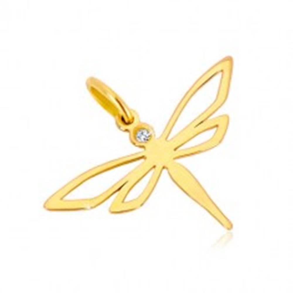 Šperky eshop Prívesok zo žltého zlata 585 - lesklá vážka s vyrezávanými krídlami, zirkón