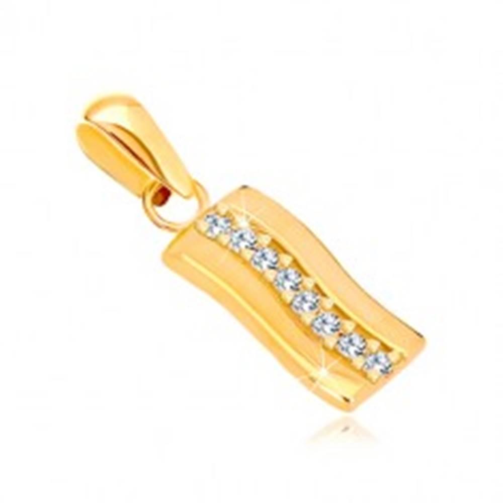 Šperky eshop Prívesok zo žltého zlata 585 - mierne zvlnený lesklý pás, zirkónová línia