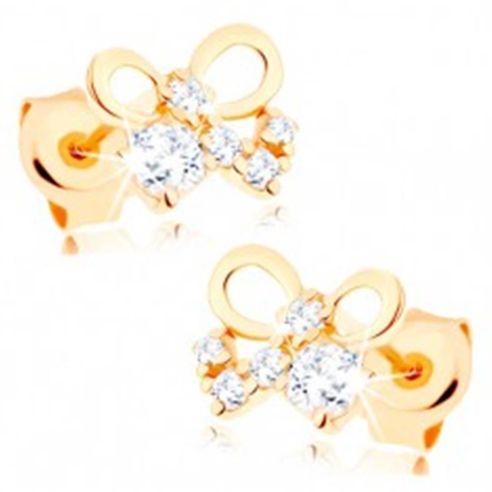Šperky eshop Puzetové náušnice v žltom 14K zlate - lesklá mašlička, číre zirkóny
