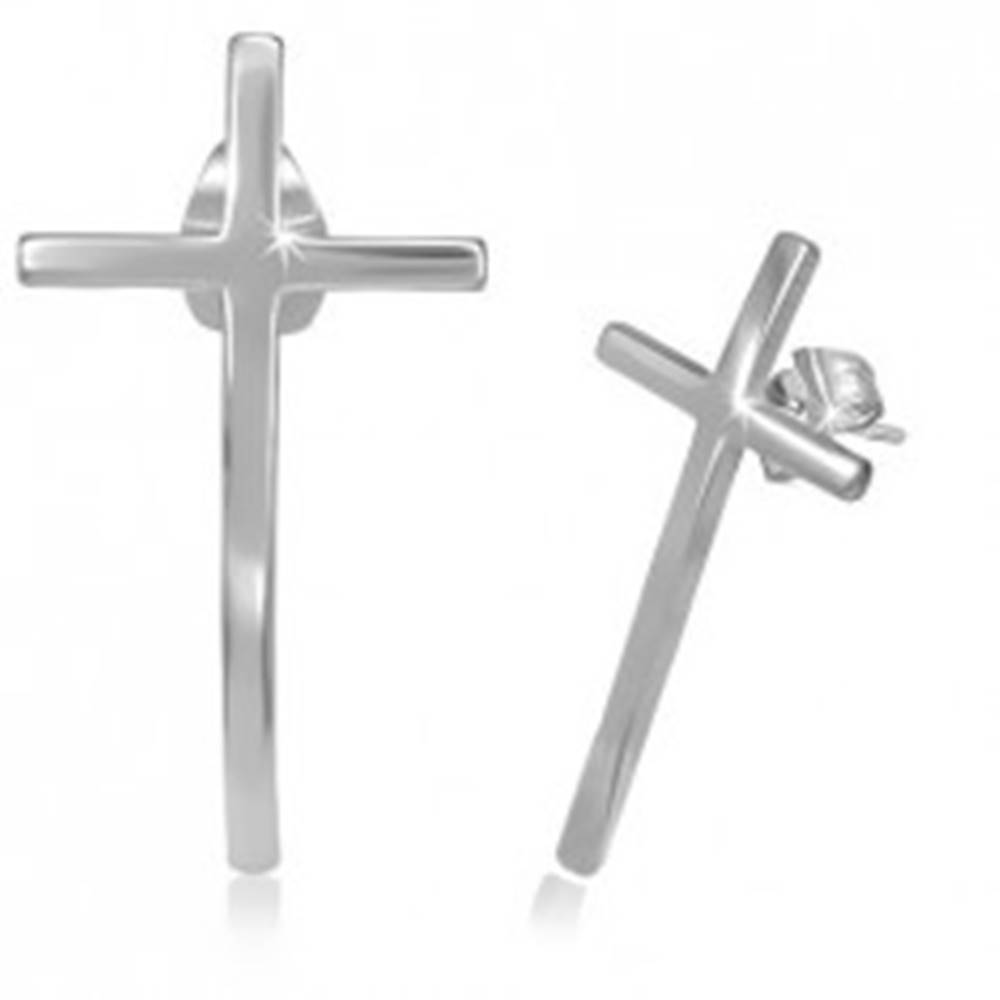 Šperky eshop Puzetové náušnice z chirurgickej ocele - úzky kríž s lesklým povrchom