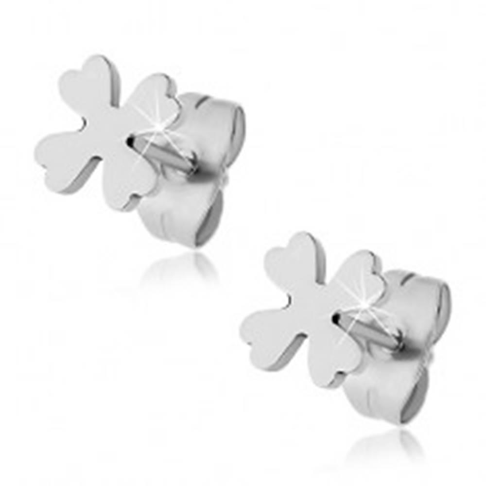 Šperky eshop Puzetové náušnice z ocele 316L, strieborná farba, štvorlístok pre šťastie