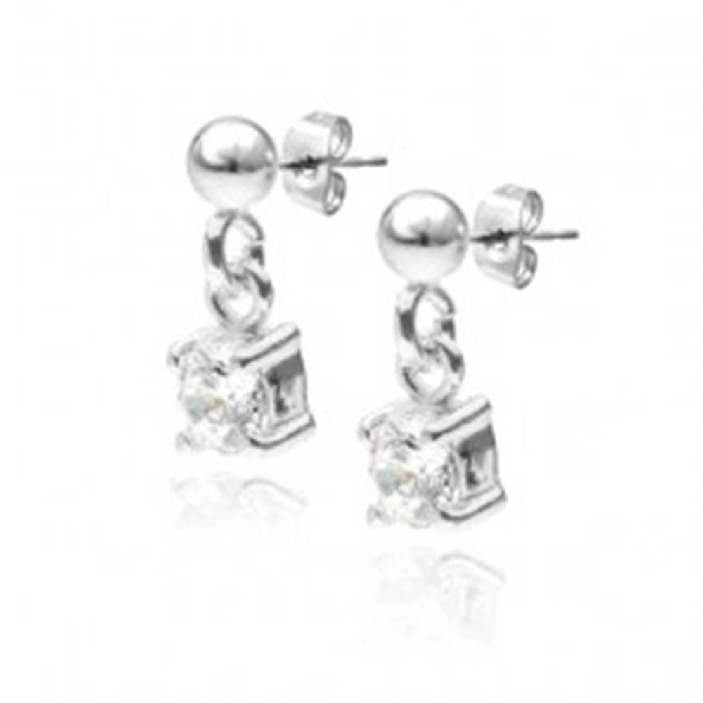 Šperky eshop Strieborné puzetové náušnice 925 - visiaci okrúhly číry zirkón, 4 mm