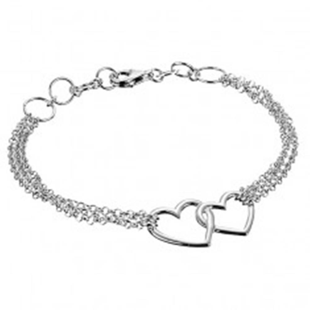 Šperky eshop Strieborný náramok 925 - dve nepravidelné obrysové srdcia a trojitá retiazka
