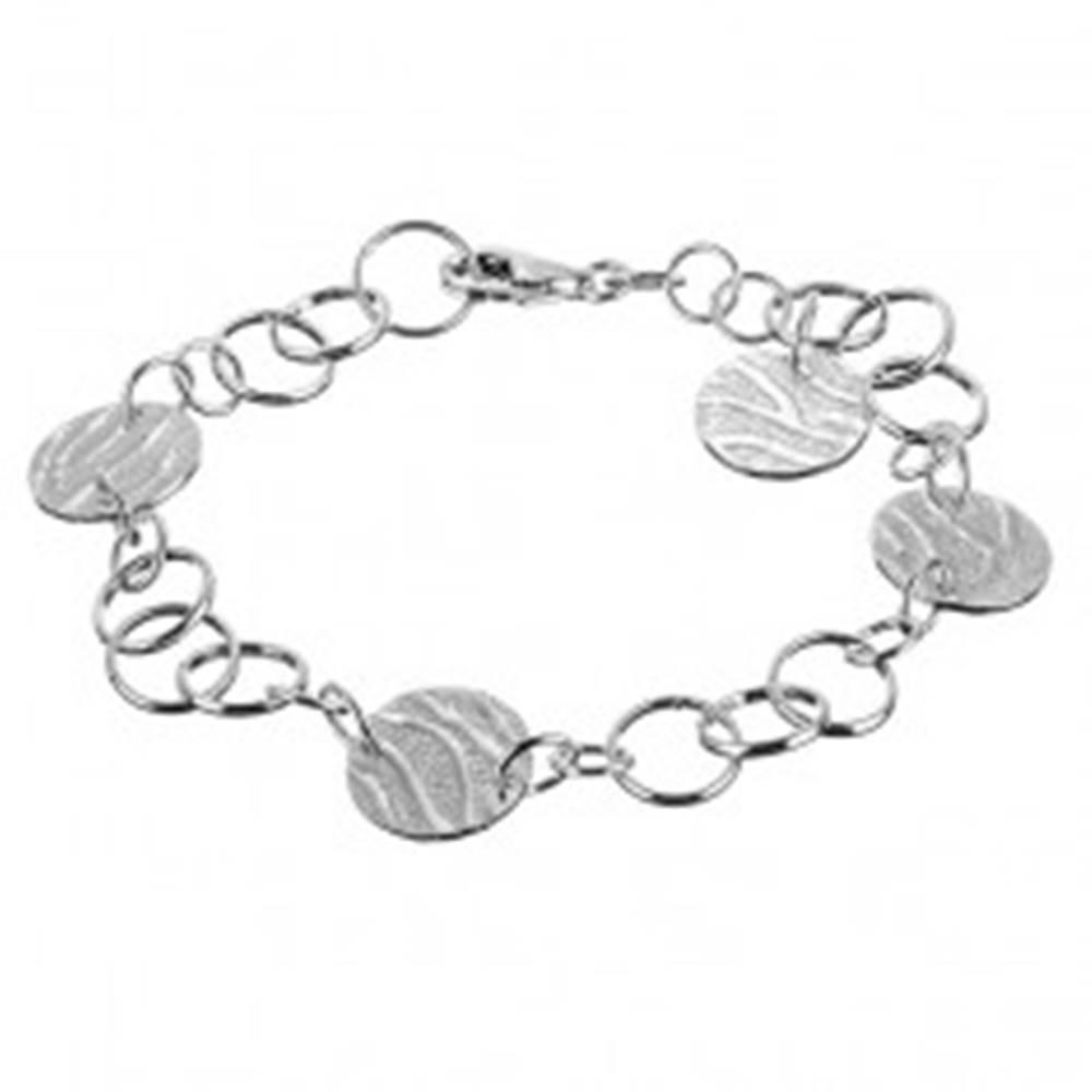 Šperky eshop Strieborný náramok 925 - kruhové prívesky so vzorom tigra