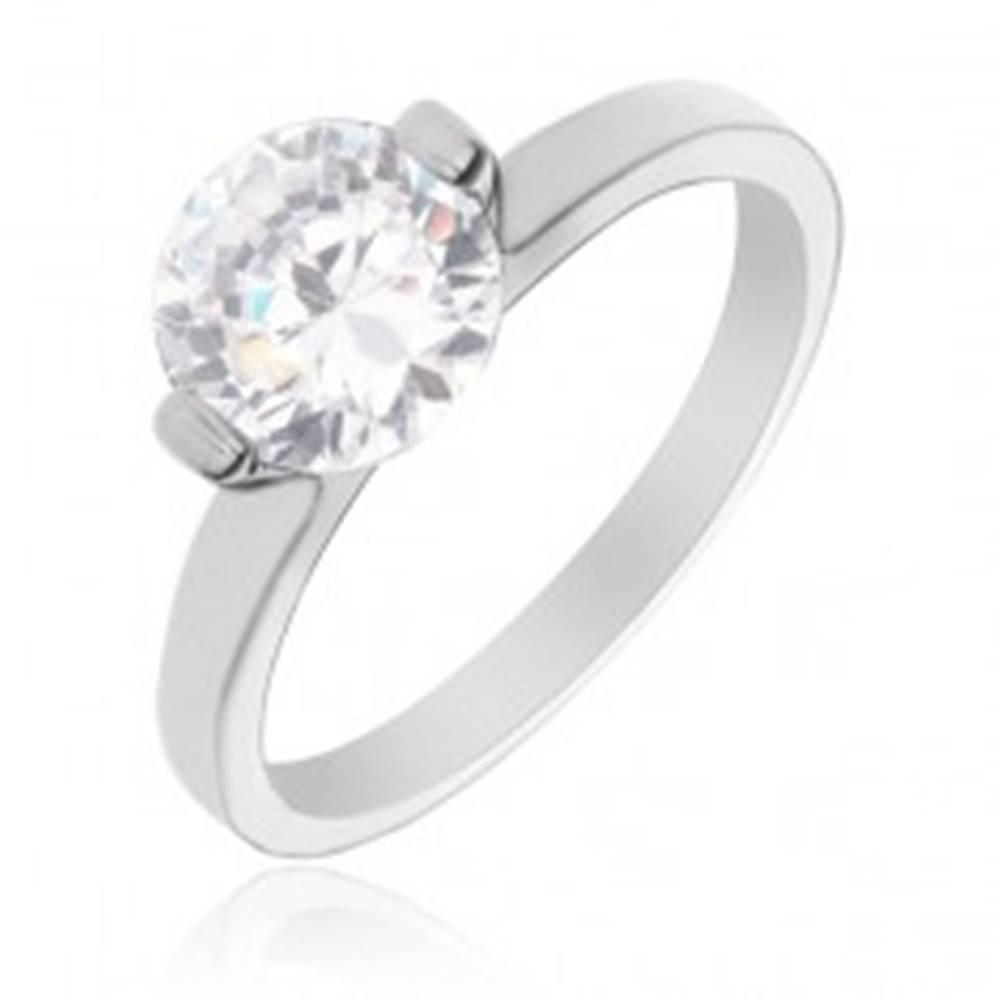 Šperky eshop Strieborný prsteň 925 - okrúhly číry zirkón s dvomi kolíkmi - Veľkosť: 49 mm