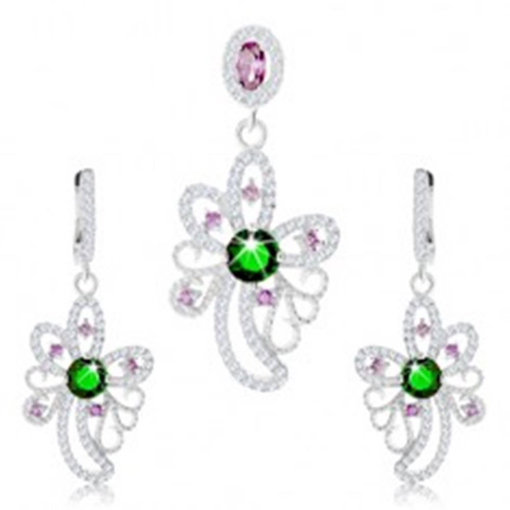 Šperky eshop Strieborný set 925, prívesok, náušnice, asymetrický kvet zdobený zirkónmi