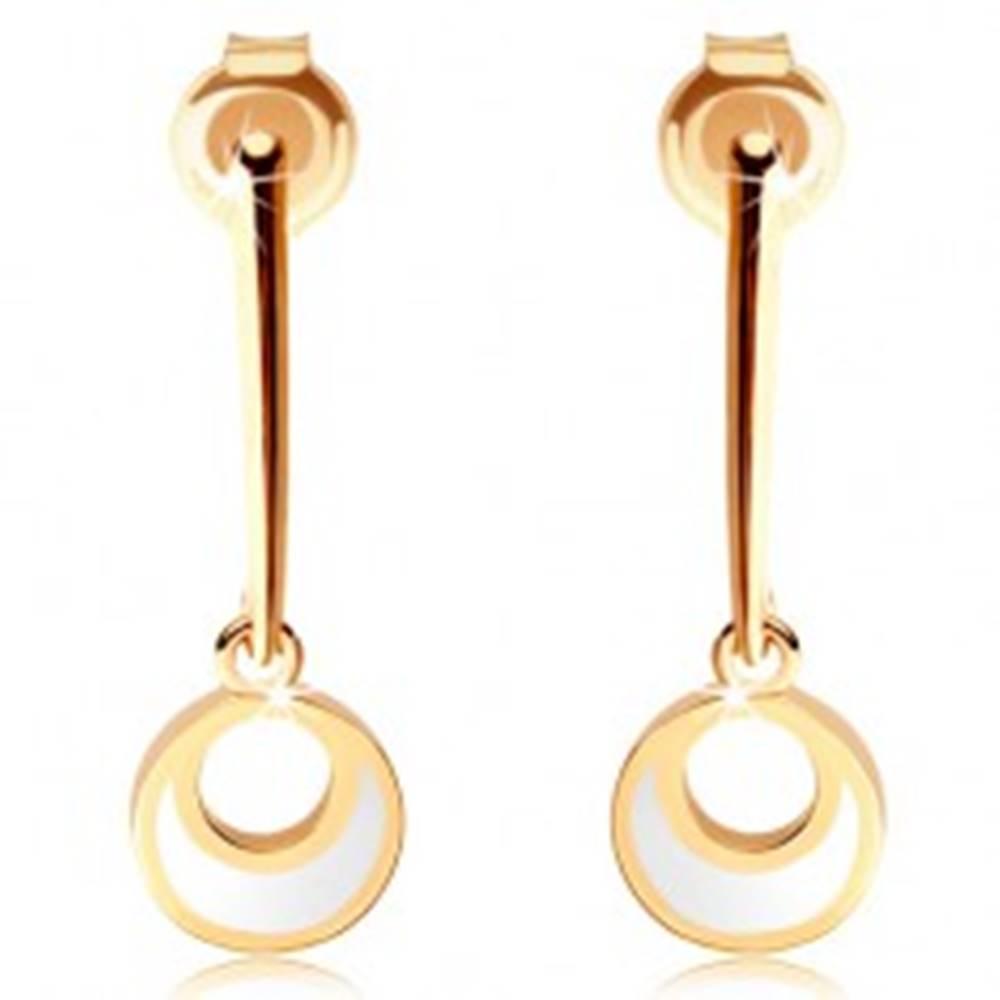 Šperky eshop Zlaté náušnice 585 - kruh visiaci na rovnej paličke, výrez, biela glazúra