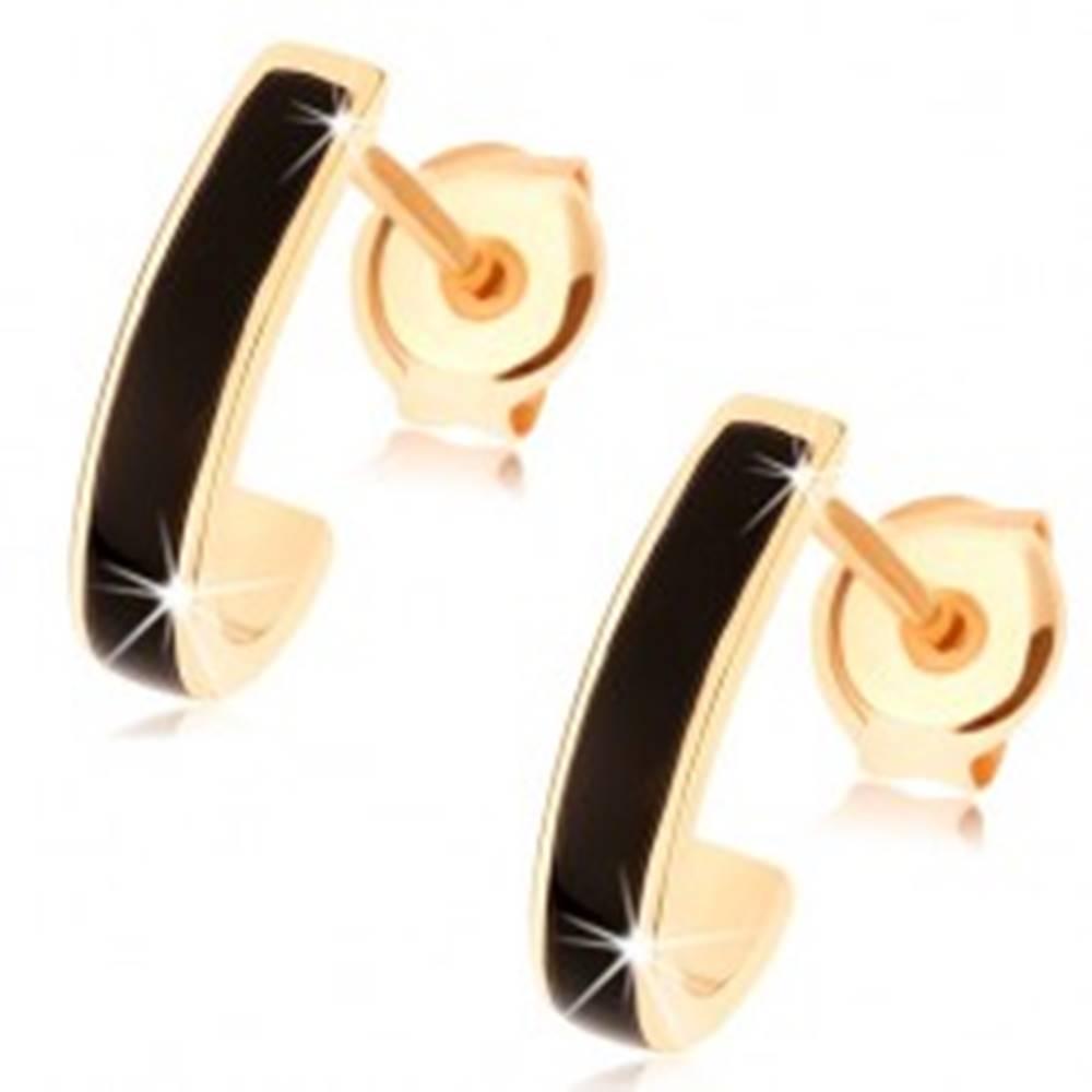 Šperky eshop Zlaté náušnice 585 - lesklý asymetrický oblúk, pásik čiernej glazúry