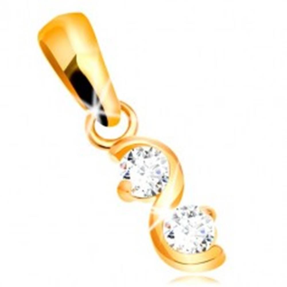 Šperky eshop Zlatý prívesok 375 - lesklá zvlnená línia, dva okrúhle ligotavé zirkóny