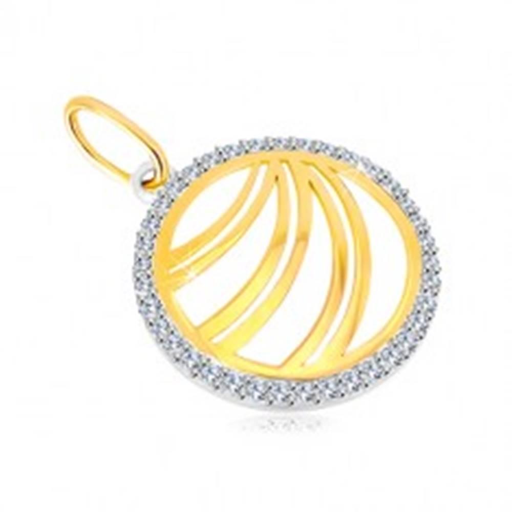 Šperky eshop Zlatý prívesok 585 - zdvojené línie v zirkónovom prstenci z bieleho zlata