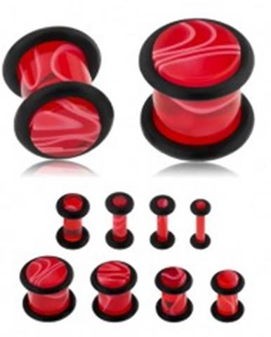Akrylový plug do ucha, červená farba, mramorový vzor, čierne gumičky S44.12 - Hrúbka: 10 mm