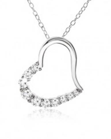 Retiazka, obrys srdca so zirkónovou polovicou - náhrdelník, striebro 925 SP05.17