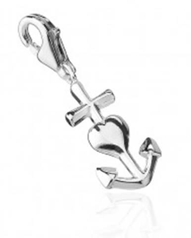 Strieborný prívesok 925 - srdce, kotva a kríž AB2.17