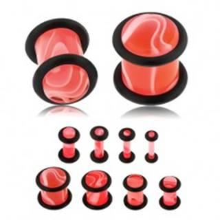 Akrylový plug do ucha ružovej farby, mramorový vzor, dve čierne gumičky - Hrúbka: 10 mm