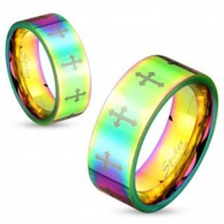 Farebný oceľový prsteň s lesklým povrchom a krížikmi striebornej farby, 6 mm - Veľkosť: 50 mm