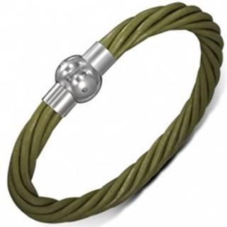 Kožený náramok - zelené točené šnúrky, zapínanie na magnet