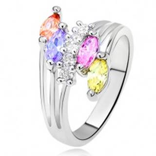Lesklý prsteň - farebné zrniečkové kamienky, rozvetvené ramená, číra línia - Veľkosť: 51 mm