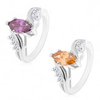 Ligotavý prsteň striebornej farby, farebné brúsené zrnko, zahnuté ramená - Veľkosť: 49 mm, Farba: Fialová