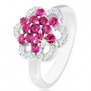 Ligotavý prsteň, striebro 925, lesklé ramená, kvet z ružových a čírych zirkónov - Veľkosť: 50 mm