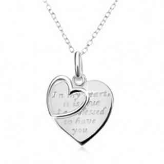 Náhrdelník - retiazka, srdce s nápisom, obrys srdca, striebro 925