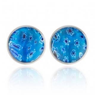 Náušnice z ocele -  modrá sklenená polguľa s kvetmi