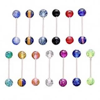 Oceľový piercing do jazyka, priehľadné akrylové guličky s konfetami - Farba piercing: Čierna